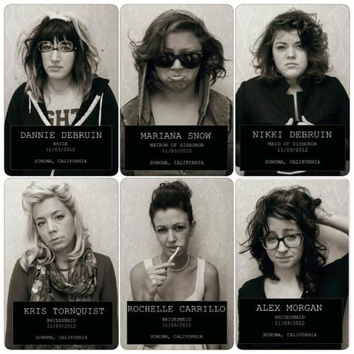 bachelorette mug shots ... some women just had a white piece of paper and wrote on it with marker, we can do whatever. i really like this idea though!