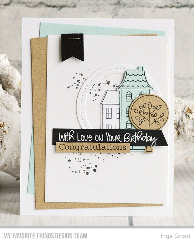 Stamps: Town Bear, In Paris, Distressed Patterns, Framework Background Die-namics: Town Bear, In Paris, Single Stitch Line Circle Frames, Rectangle STAX Inge Groot #mftstamps