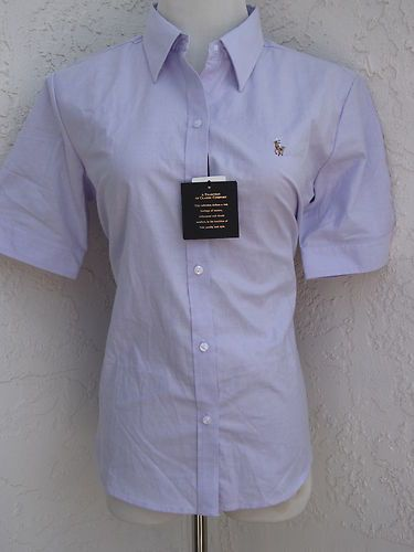 Polo size XL women's lilac purple button front oxford shirt slim fit top NWT