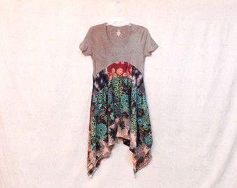 REVIVAL vrouwen Upcycled Boho Shirt, Tribal Hippie Chic landelijke Boheemse ongewenste Gypsy stijl, kleine tot middelgrote, gerecycleerd voorzien ecovriendelijke