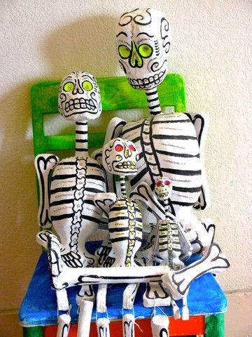 """Papier Mache skeletons are whimsical """"Day of the Dead"""" true works of art."""
