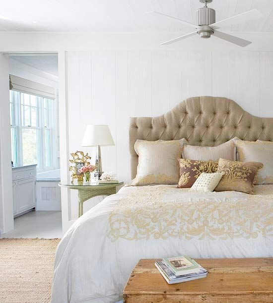 We love this elegant upholstered headboard! More of our favorites: http://www.bhg.com/rooms/bedroom/headboard/stylish-upholstered-headboards/?page=2=bhgpin041212upholsteredheadboardDesign Bedroom, Beach House, Guest Bedrooms, Bedrooms Design, Decor Bedroom, Master Bedrooms, Bedrooms Headboards, Upholstered Headboards, Neutral Bedrooms