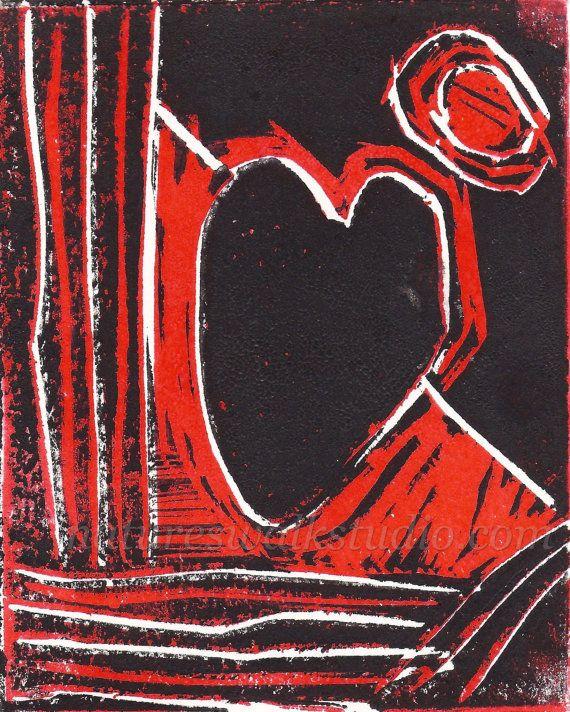 Black& Red Heart Block Print - Affordable art print by Jason Hogan from #NaturesWalkStudio