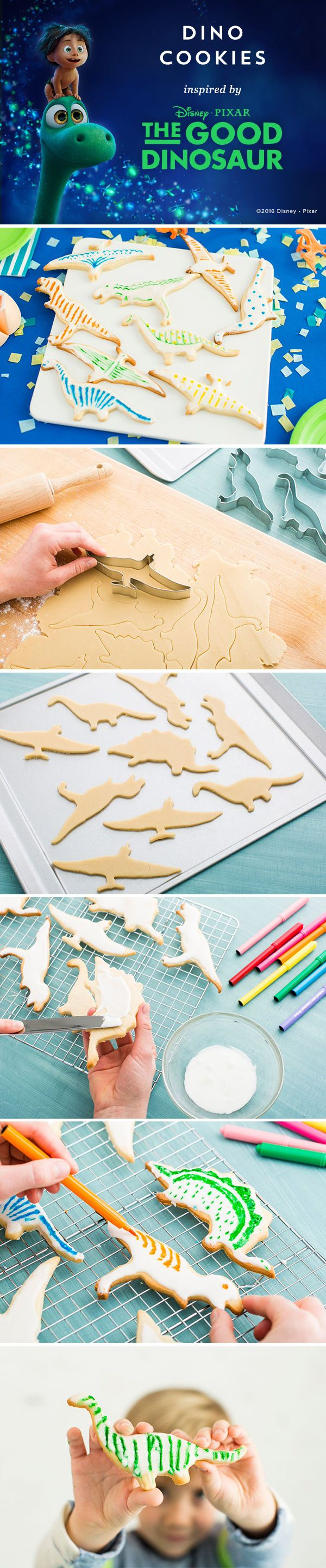 Make these delicious Dinosaur cookies with your kids! The Good Dinosaur will be available on Blu-ray, Digital HD & Disney Movies Anywhere February 23. 1. Use dinosaur cookie cutters on sugar cookie dough 2. Bake & let the cookies cool 3. Add a layer of icing that hardens 4. Draw patterns and designs on the cookies with food coloring pens