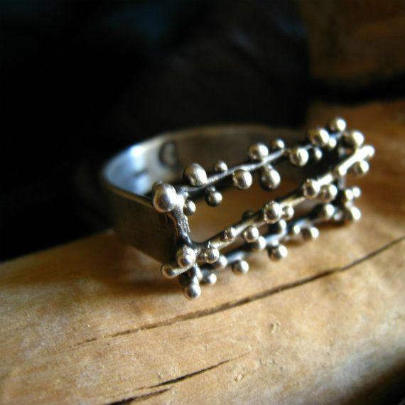 Sterling silver granulation ring. by applenamedD on Etsy