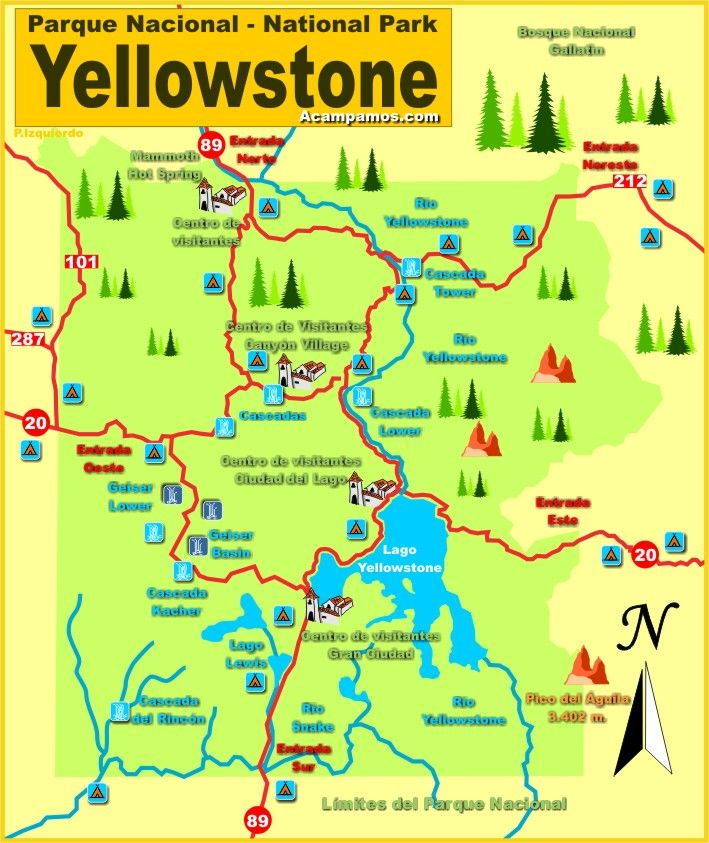 mapa del parque nacional de Yellowstone wyoming estados unidos USA