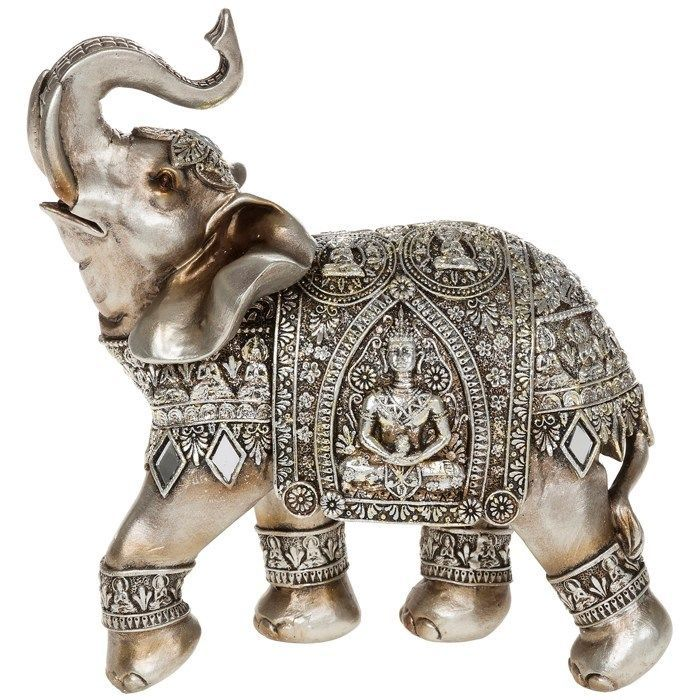 SILVER ELEPHANT WITH ENGRAVED BUDDHA ORNAMENT ORIENTAL DECOR NEW BOXED GIFT