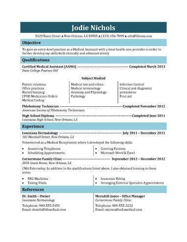 student medical assistant resume template - Medical Assistant Dermatology Resume