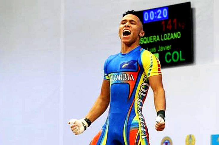 Luis Javier Mosquera, campeón mundial juvenil de Levantamiento de Pesas, en arranque, envión y total de 69 kgs en el 2015.