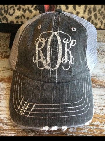 Glitter Monogram Trucker Hat | Monogram hats, Hats, Hat ...