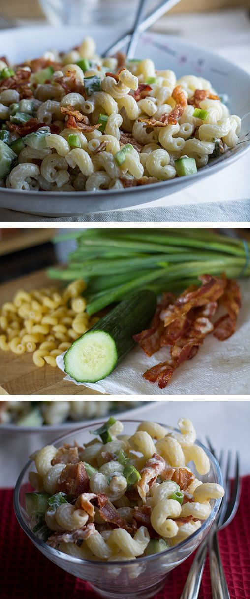 #Bacon Green Onion Pasta Salad ~ Pasta salad is such a nice side dish at any occasion, whether it's just a family dinner or you're going to a picnic or potluck.