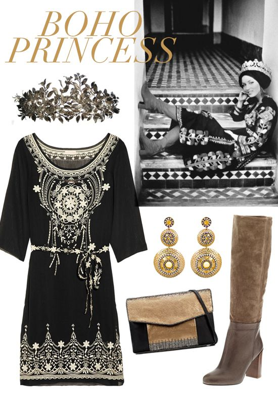 Mixing a Moroccan crown, Berber dress and classic British boots, Talitha perfectly captures the worldly mix of cultural influences