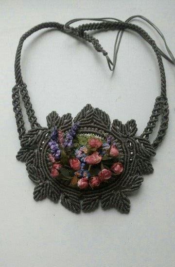 mini-macrame and ribbon embroidery