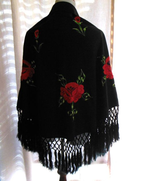 Mexican Shawl Black W Red Roses And Long Fringe Spanish