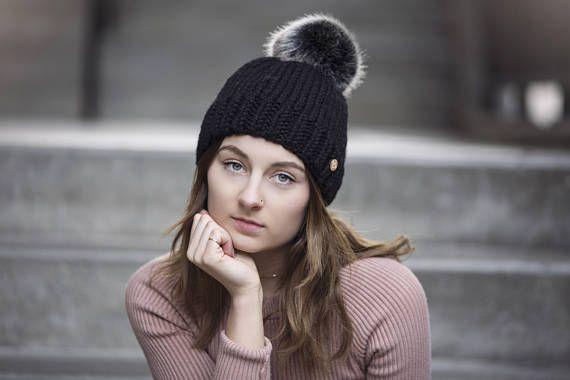 Black Hand Knit Hat with Faux Fur Pom Pom