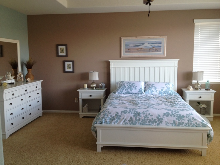 My coastal inspired master bedroom/bathroom is nearly complete! :) <3