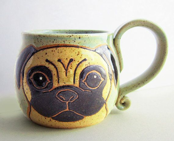 Pug Mug Pottery, great Christmas gift, ceramic mug, handmade pug dog, pug art,animal art, dog mug, holds 13 oz, microwave, dishwasher safe