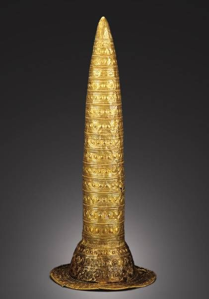 The Berlin Bronze Age golden hat, decorated with astrological symbols. (Neues Museum)