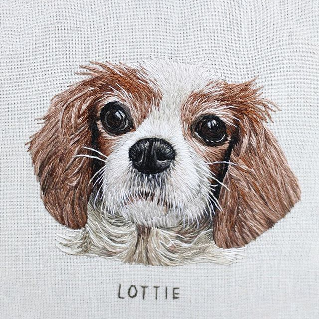 I couldn't resist posting one more pic of lottie! #embroidery #hoopart #petportrait #custompetportrait