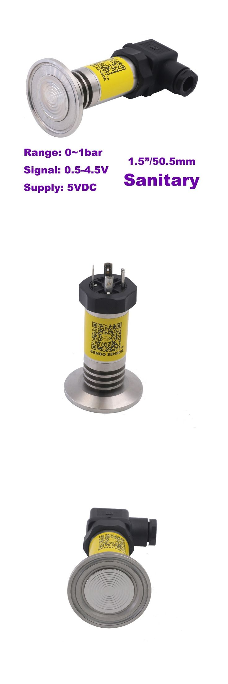 Sanitary pressure sensor 0.5-4.5V output, 0-1.0bar, 0~100kpa, 15psi, 5VDC supply, 0.5% acc, stainless steel 316L wetted parts