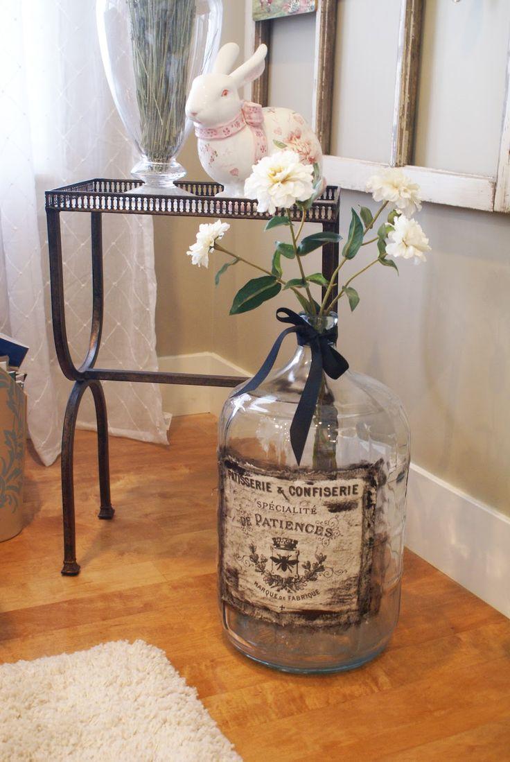 Vintage label on old wine jug (no tutorial, just inspiration pic)