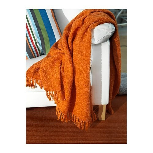 New Ikea Ritva Throw Blanket Orange Mohair Fringed Trim
