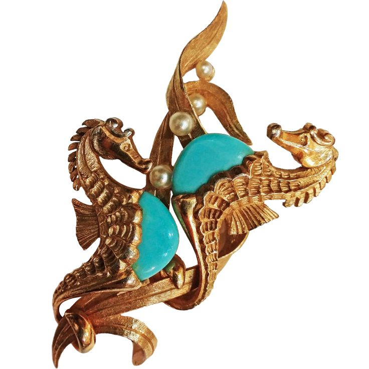 Fabulous MARCEL BOUCHER  Double Seahorse Simulated Turqoise Brooch..