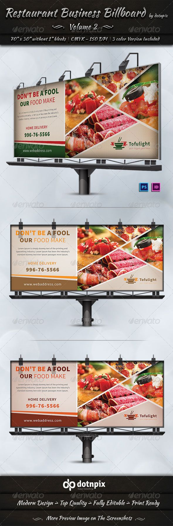 Restaurant Business Billboard Template #design #ads Download: http://graphicriver.net/item/restaurant-business-billboard-volume-2/7298713?ref=ksioks