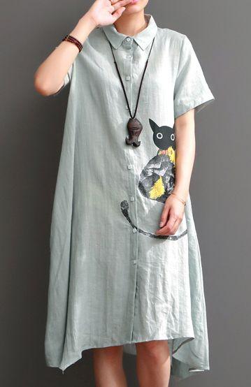 Cat print summer linen dresses long plus size maxi sundress cotton