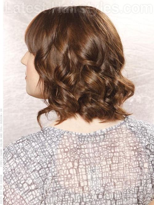 Medium Length Casual Layered Curls Back View