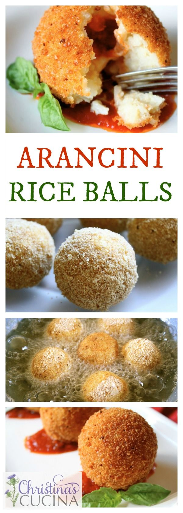 Crunchy deep fried balls of Italian rice are filled with a surprise of tomato sauce and gooey mozzarella cheese! #arancini #riceballs