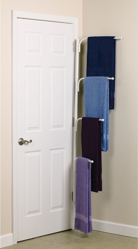 Clutterbuster™ Family Towel Bar/White modern bathroom storage - love this idea