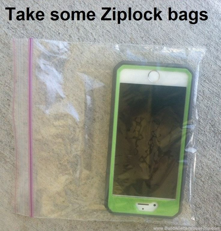 Disney World Tips & Tricks / There are a few rides at Disney World, Universal, & SeaWorld that can get you really wet. Carry  ziplock bags to protect your phone, camera or other electronic items. Quart and sandwich size bags work well for smaller items and gallon size bags are great for larger cameras. Some people save those little silica packs that come in shoes and will tuck those in the bag. Gallon sized bags are also great for carrying damp bathing suits home at the end of your trip.