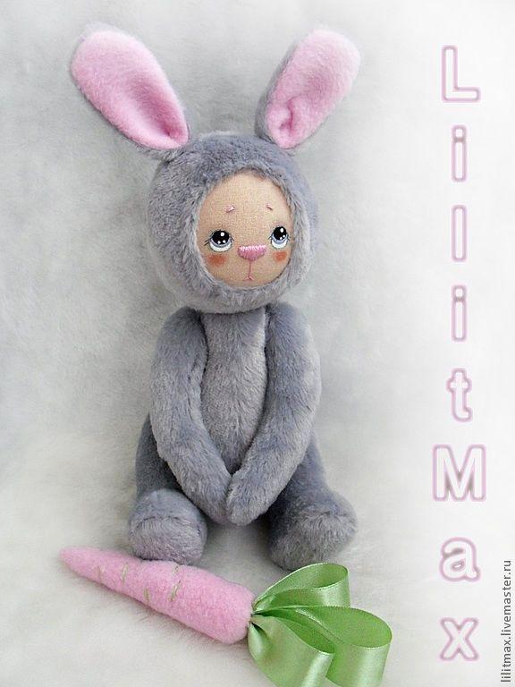 Купить Зайка с розовой морковкой - серый, зайка, подарок для женщины, подарок девушке