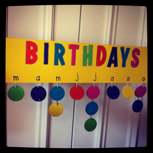 Hanging birthday graph! I used cup hooks to attach the first circle and 'S' hooks to attach them to each other!