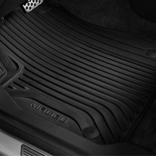 Front And Rear Premium All Weather Floor Mats In Jet Black With Malibu Script Chevrolet Accessories Chevy Accessories Gm Accessories