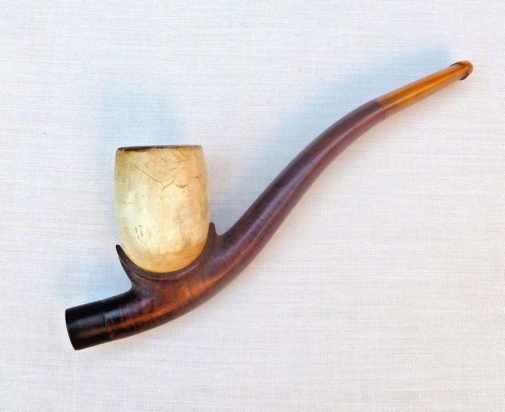 UNUSUAL BURR WOOD MEERSCHAUM & AMBER ESTATE PIPE C1920s