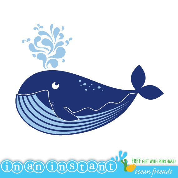 Whale Vinyl Wall Decal for an Under the Sea or Ocean Nursery, Kids, Childrens Room. $30.00, via Etsy.