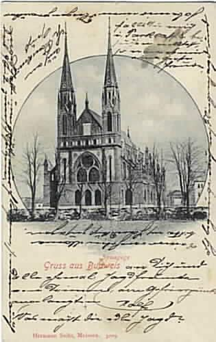 The Ceske Budejovice synagogue was so beautiful that it appeared on many, early 20th century postcards.