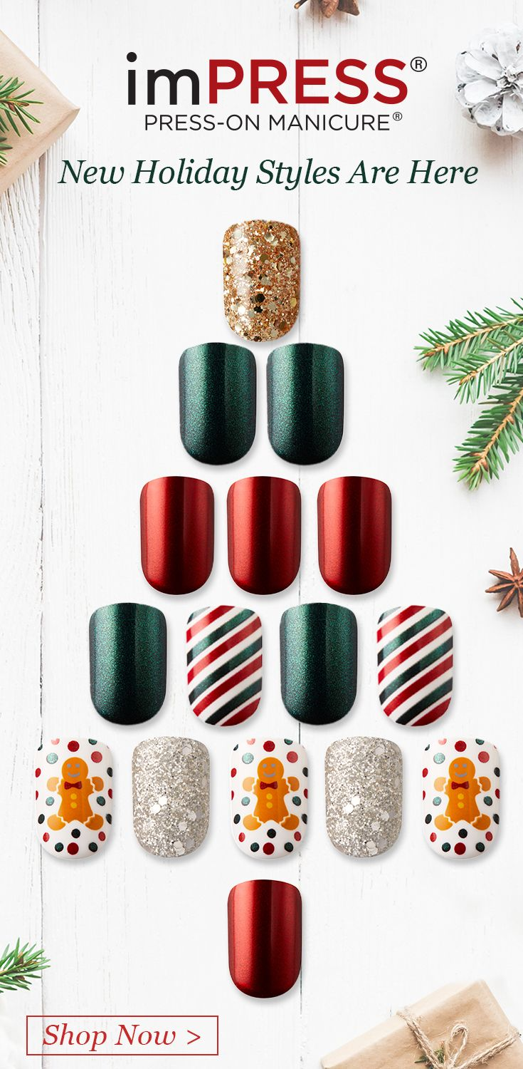 Impress Holiday Red And Green Gel Nails With Gingerbread Man Accents Say It Right Kiss Gel Nails Holiday Nails Nails