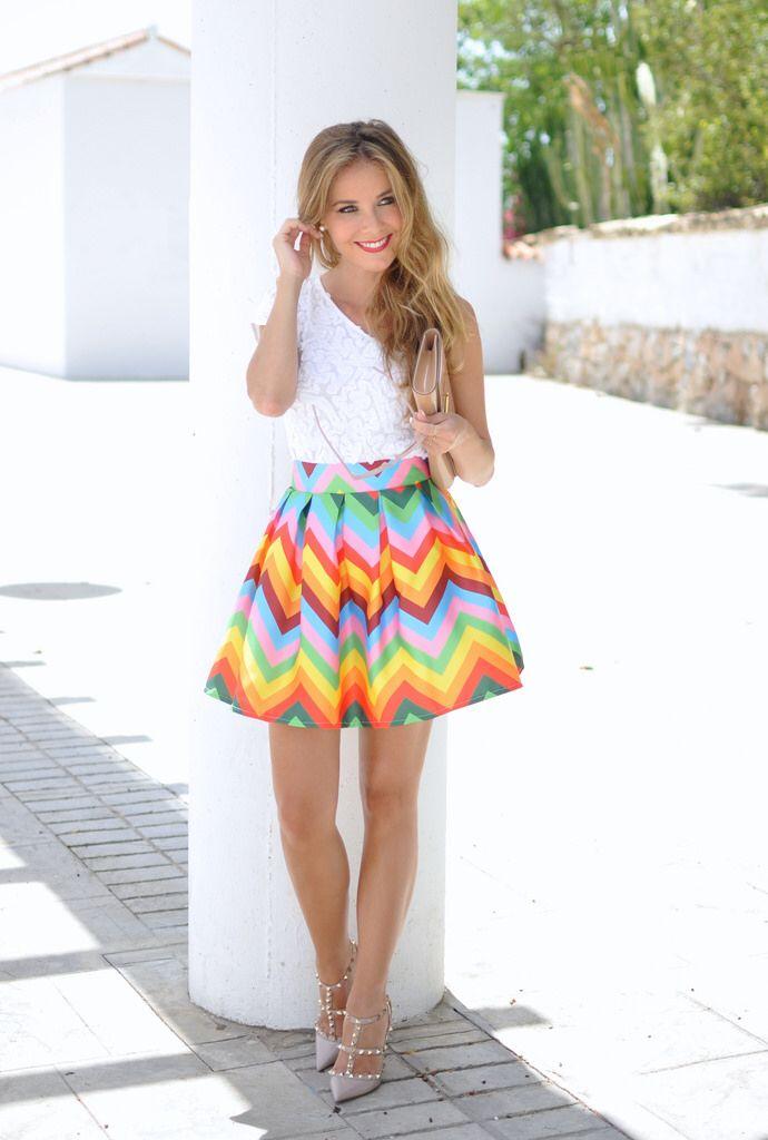 Rainbow skirt, Valentino heels and Louis Vuitton clutch