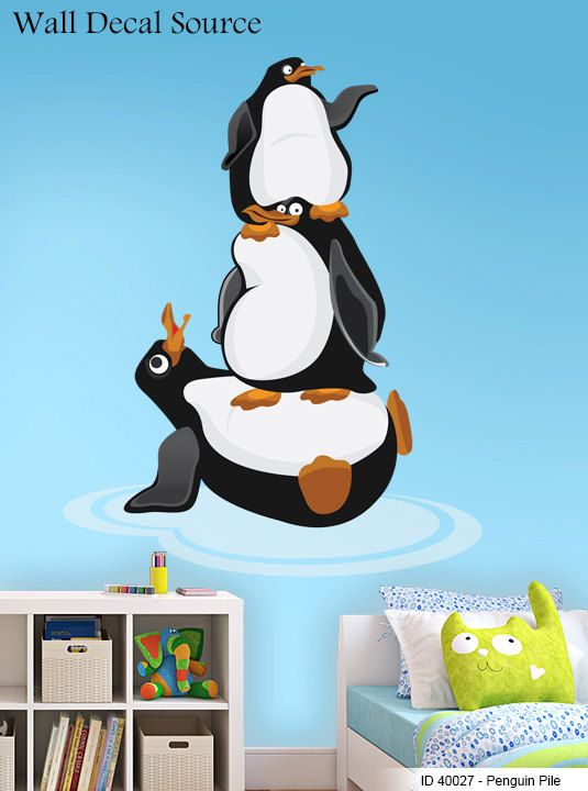 Penguin pile wall decals vinyl penguin art stickers penguins cute decals
