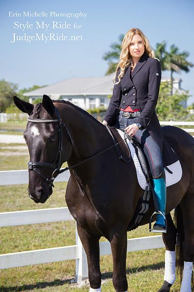 We decided if we were inclined to school in tail coats, then these jean breeches from HKM Georgia are the perfect choice to give the look a more 'casual' vibe. The HKM jean breeches with red stiching are paired with a black studded Michael Kors belt. The impeccable Shadbelly, by Equiline America, looks  even more striking against our stunning Vincerò boots in Robin's egg blue and black. @SMRequestrian stylemyride.net @denirobootco