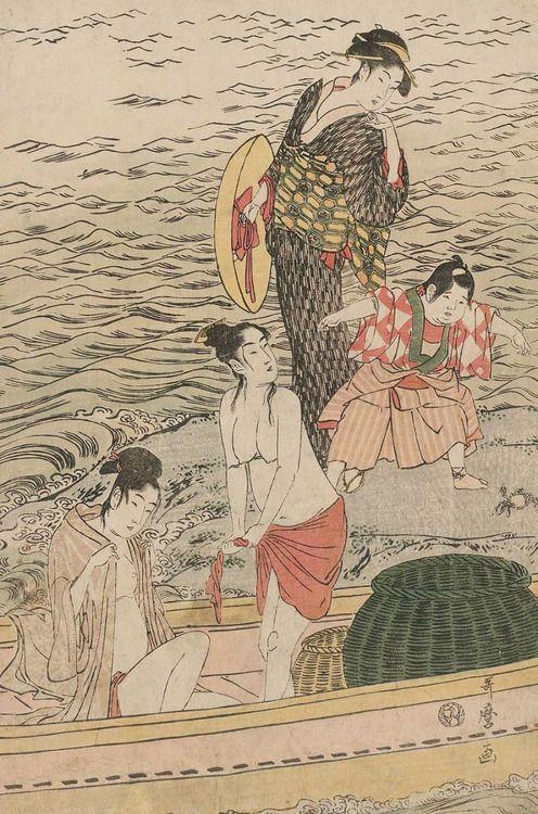 kitagawa utamaro kappa. ukiyo-e woodblock print of abalone divers. japan, by artist kitagawa utamaro i. kappa u