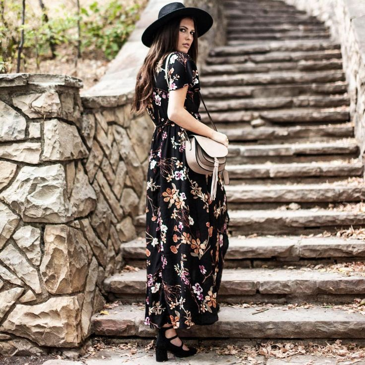 """Nothing says """"effortless chic"""" like a dress to throw on and go! This floral hi-low maxi is perfect for dressing up or down and heading out the door!"""