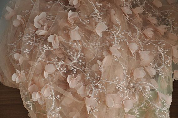 Nude Lace fabric with 3D rosette lace appliquesfor by Retrolace