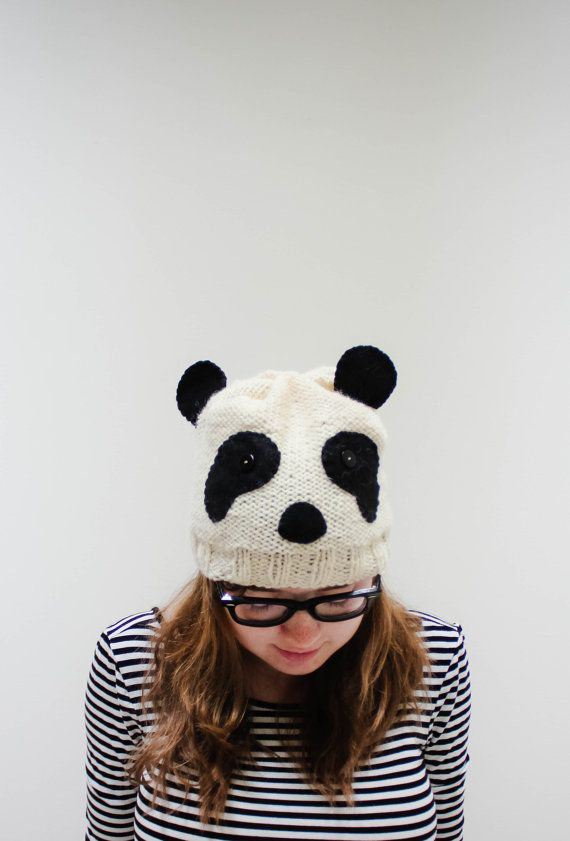 Knitting Pattern For Panda Hat : Knit Panda Hat on Etsy, USD34.00 kasitoo Pinterest Animals, Search and Hats