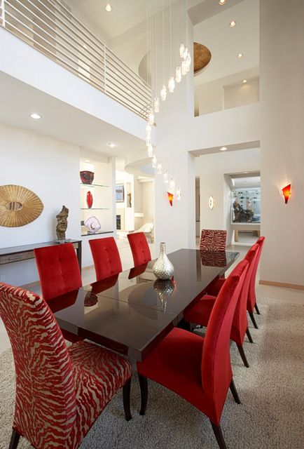 Great Idea Of Having Red Chairs With Two Different Fabrics   I Also Love  Having A Dining Room Open Over Two Levels