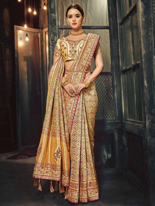 2cfbf70fc019b2 Golden Silk Saree With Weaving