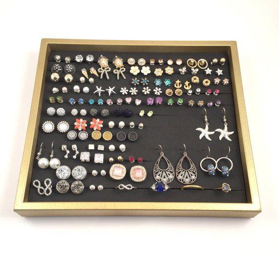 Gold Frame Jewelry Tray, GOLD frame-BLACK foam, Earring Organizer, Jewelry Display, Ring Tray Organizer, Gift for Women, Bathroom Organizer